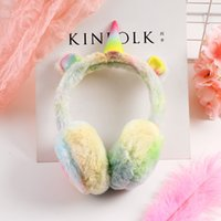 orejeras para niños al por mayor-50pcs Unicorn Ear Muffs Winter Cartoon espesar Felpa unicornio Orejeras Vellón Color sólido Niños Ear Warmer Orejeras Favor de fiesta