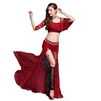 49bf402790 Women Sexy Belly Dance Costume Lace Bollywood Bellydance Tops Long Skirt Exotic  Dancewear Oriental Clothing Fairy Dress DC1776
