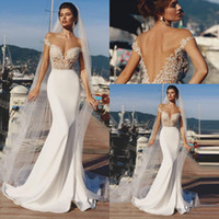 Wholesale sexy short sleeve mermaid wedding dress resale online - 2020 Sheer Short Sleeves Satin Mermaid Beach Wedding Dresses Lace Applique Sweep Train Boho Wedding Bridal Gowns robes de mariée