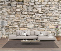 Wholesale country beds resale online - custom size d photo wallpaper living room bed room mural natural stone culture stone picture sofa TV backdrop wallpaper non woven sticker