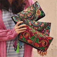 etnik cüzdanlar toptan satış-Bayanlar Kadınlar M199Y İçin Para Günlük Pounch Mini Püskül Torba Çiçek İşlemeli Boho Debriyaj El yapımı Çanta Etnik Çiçek Bileklik Çanta