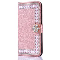 galaxia billetera de diamantes al por mayor-Moda Diamond Pearl Flower Shiny Card Slot Funda de cuero con tapa para Samsung Galaxy S5 S9 / 8/7/6 A6 A8 Edge Plus Note 9 8