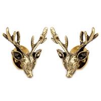 Wholesale bronze candles resale online - 1 Pair of Antique Bronze Alloy Shirt Collar Clips Tips Gift Reindeer Shape