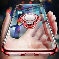 iphone s gold großhandel-Ultradünne transparente telefonkasten für iphone xs max xr x 8 7 6 6 s plus samsung s10 s10e auto magnetkoffer fingerring halter abdeckung coque