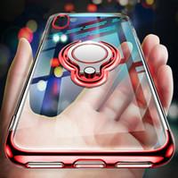 caixa dos anéis de dedo venda por atacado-Ultrafino transparente phone case para iphone xs max xr x 8 7 6 6 s plus sony s10 s10e casos magnéticos do carro anel de dedo titular capa coque