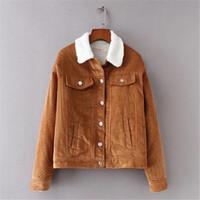 Wholesale warm jacket long for sale - Lady Spring Corduroy Jacket Coat Women Long Sleeves Warm Coats Female Pockets Camel Casual Outwear