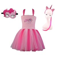 tutus de cumpleaños para niñas al por mayor-My Little Girls Tutu Dress Pony Unicorn Costume para niñas Fiesta de cumpleaños Halloween Acción de Gracias Dress Up 2-12yMX190822
