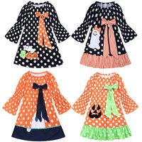 Wholesale long full tutu for girls resale online - Halloween Kids Girls Dresses New Baby Clothes Long Sleeve Cotton Halloween Pumpkin Dot Printed Patchwork Dresses For Children Kids Clothing