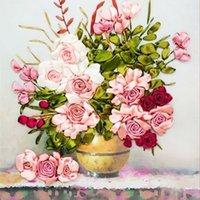 broderie au point de croix achat en gros de-65x50cm Rose Roses Fleurs Bricolage 3d Point De Croix Kit Couture Inachevé Ruban Peinture De Broderie Couture Couture Cadeau Artisanat Q190531