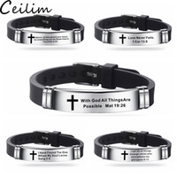 edelstahl armband bibel groihandel-New Design Bibel-Vers-Armbänder für Männer Silikon-Armband Bibel Gebet Zitate Christian Gebet-Kreuz-Armband Edelstahl-Armband