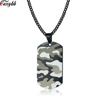 Wholesale army dog chain resale online - Cool Camouflage Dog Tag Necklace for Men Stainless Steel Soldier Army Male Pendant Collar Outdoor Sport Jewelry
