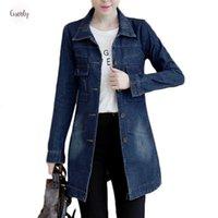 jaqueta de outono para mulher venda por atacado-Outono Inverno coreano Denim Jacket Brasão Mulheres Longo Base de Womens desgastado 5XL azuis Plus Size Jeans Casacos legal dos A364