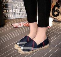 ingrosso scarpe casuali della tela di canapa delle donne-2019 donne scarpe casual donna pescatore appartamenti signore scarpe di tela signora stile europeo scarpe a fondo piatto zy863
