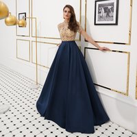 ingrosso long satin dress high neckline-MF005 rilievo collo alto Prom Dresses Navy A-line lungo Principali borda i vestiti da sera con maniche in raso Gonna abiti da cocktail convenzionali