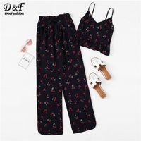 ropa de mujer s al por mayor-Dotfashion Armada impresión de la cereza volante Cami y pantalones PJ Set pijamas atractivos para las mujeres 2019 verano casual camisa de dormir de Kawaii Loungewear