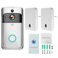 kapılar için interkom toptan satış-WiFi Akıllı Kablosuz Güvenlik Kapı Zili Akıllı HD 1080 P Görsel Interkom Kayıt Görüntülü Kapı Telefonu Uzaktan Ev Izleme
