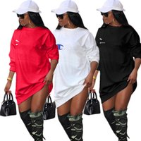 winterkleid für frauen großhandel-Frauen Mädchen Champions Brief Kleid Marke Lange Hoodie Kleider Herbst Herbst Winter Oversize Sweatshirts Tops T-Shirt Pullover Kleidung Pullover