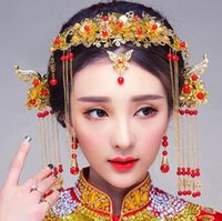 Wholesale chinese bride hair online - Retro Bride Jewelry Antique Headdress Chinese Wedding Hair Ornament Dragon and Phoenix Garments Xiuhe Dress Accessories