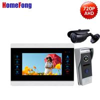 cableado del video portero al por mayor-Homefong 720P AHD 4 Sistema de seguridad para el hogar con timbre y portero automático con video y puerta con sistema de video con monitor + Doorberll + Camera Motion Record