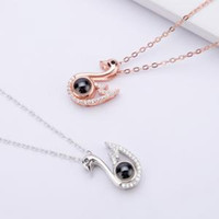 Wholesale wedding favor crystal gift resale online - 100 Language Necklace Swan I Love You Memory Rose Gold Roman Crystal Necklace wedding valentine s day gift party favor FFA1583