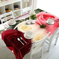 flores azules al por mayor-Bigmum Rectangular Redondo Cuadrado Tapete mantel Cubierta de Tabla Té 3D Paño de Tabla Flor Rosa Girasol Flores de cerezo