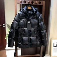 парковая куртка мужская чёрная оптовых-Модный бренд Warm Ski зимняя куртка мужская дизайнерская молния с капюшоном куртки для мужчин черный с капюшоном с капюшоном Парки высокое качество пуховик