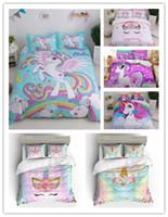 cama chinesa azul venda por atacado-Venda QUENTE Unicórnio Dos Desenhos Animados Jogo de cama com fronhas conjunto gêmeo rainha cheia king size