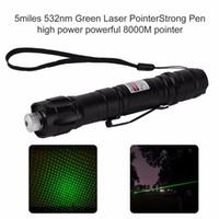 stylo long achat en gros de-1mw 532nm 8000M Haute Puissance Vert Pointeur Laser Longue Distance Pointeur Laser Lumière Stylo Rayon Militaire Vert Lasers