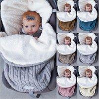 mantas de bebé caliente invierno al por mayor-accesorios del sueño del bebé recién nacido Saco cochecito nido Wrap Otoño Invierno Knited de lana caliente de la compra manta Saco calcetín Bunting Bolsas