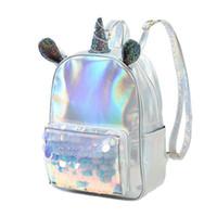 Wholesale travel backpack online - Women Sequins Unicorn Laser Backpack Mini Leather Girls Travel Back Bags Silver School bag Men shoulder travel bag QQA348
