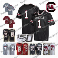 ingrosso punto di jersey di calcio-2019 NCAA 150TH Patch Gamecocks Custom Any Number Name Stitched New Black White Red # 4 Tavien Feaster 44 Sherrod Greene Football Jersey
