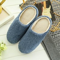 ingrosso pantofole invernali per gli uomini-Fashion Men Home Plush Soft Slippers Indoors Winter Warm Floor Bedroom Shoes Anti-slip Slides Slipper Male Chaussures Femme FN60