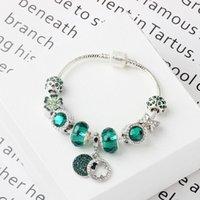 ingrosso scivolo fascino trifoglio-Pandoras fascino dei monili di verde ciondolo bracciale fai da te fatti a mano 925 di cristallo del trifoglio d'argento perline bracciali bangles per regalo di festa