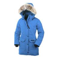 kadın ceketi toptan satış-2019 Kanada marka Bayan Aşağı Parkas yeni kalın sıcak ve rüzgar geçirmez su geçirmez uzun bölüm ince düz renk kaz tüyü ceket k ...