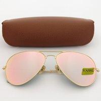 gül bardağı toptan satış-1 adet Sıcak Vassl Marka Güneş Gözlüğü Erkekler Kadınlar Pilot Güneş Gözlükleri altın Çerçeve Gül Pembe len Sürüş gözlük UV400 koruma Gözlüğü Ile Kahverengi Kılıf