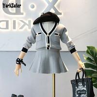 çocuklar çizgili uzun kol toptan satış-Yorkzaler Zarif Kızlar 2 adet Kıyafetler Uzun Kollu Çizgili HırkaSolid Etek Prenses Çocuk Giyim Seti Bahar Rahat Giysiler