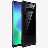 marco de parachoques transparente al por mayor-Para Samsung Galaxy S10 Funda S10 + Cubierta S10 Plus S10e 5G Funda Aleación Marco de metal Parachoques Transparente cubierta de cristal templado