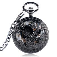 Wholesale black eagle pendant for sale - Group buy Steampunk Bronze Black Hollow Eagle Hand winding Mechanical Pocket Watch Men Women Skeleton Arabic Number Dial Clock Pendant Chain