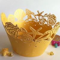 hochzeitsdekoration seestern großhandel-60pcs Starfish und Sea Shell Cupcake Wrapper / Laser Cut Cupcake Cups / Strand Hochzeit Geburtstag Partydekorationen