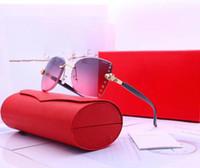 ingrosso occhiali notturni-Fashion Designer Occhiali da sole Occhiali da sole di lusso Vetro senza montatura per occhiali da vista da donna UV400 Modello C0005 Alta qualità con scatola