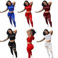 pantalones de sudor de yoga al por mayor-Mujeres Chándales Casual Manga Corta 2 camiseta de dos piezas Top + Pantalones Estampado de letras Conjuntos de mujer Trajes de damas Otoño Trajes de sudor