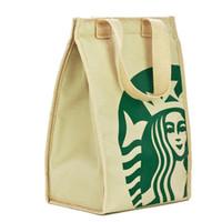 bolsas de aislamiento al por mayor-Starbucks Cooler Paquete de bolsa de aislamiento térmico Almuerzo portátil Bolsa de picnic Engrosamiento de bolsas térmicas para refrigerador de pecho Caja Bolso de compras