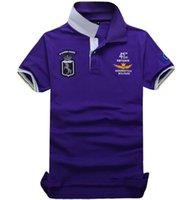 graue polohemden für männer großhandel-Luxus Polo Shirts Für Männer Großhandel Einzelhandel T Shirts Hochwertige Mode Poloshirt Männer Lila Blau Rot Grau Schwarz Kurzarm Sommer