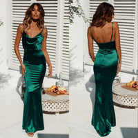 Wholesale open silk prom dresses for sale - Group buy Sexy Open Back Spaghetti Mermaid Dark Green Prom Dress Long Sheath Cheap Evening Party Gowns Custom Made
