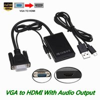 Wholesale hdmi projector cable female resale online - New VGA Male to HDMI Female Converter Adapter Cable With Audio Output P VGA HDMI Adapter For PC Laptop to HDTV Projector