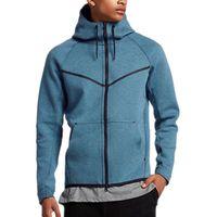 erkek pamuklu moda modası toptan satış-Marka Erkek Kapşonlu Spor Boş Pamuk Sonbahar ve Kış Triko Yeni Moda Man'ın Coat Plus Size M-5XL