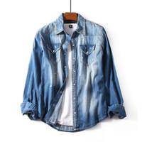 herren blaue jeanshemden großhandel-Tops Herren Designer Washed Vintage Denim Shirts Slim Fit Ripped Long Sleeve Hellblaues Two-Pocket-Baumwoll-Casual-Jeans-Hemd