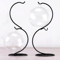micro bolas venda por atacado-Micro paisagem racks de exibição pendurado suporte de luz do chá da vela diy bola de vidro gancho de metal suporte de ferro para a decoração da casa