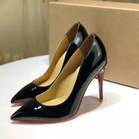 tasarımcı yüksek topuklu ayakkabılar toptan satış-Lüks Yüksek Topuk Kadın Deri Elbise Ayakkabı Tasarımcısı Siyah Stiletto Topuk Ayakkabı Kadın Düğün Parti Elbise Ayakkabı Ile Siyah