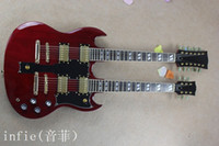 Wholesale custom electric guitar necks for sale - 2019 Hot Selling strings and strings double neck g shop custom SG electric guitar in red color